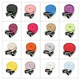 Cordon de serrage plat en coton pour sweat à capuche, 10 et 15 mm de large, avec stoppeurs en métal, 1,5 m + 2 boutons ou 3 m + 4 toggles. 26 couleurs, jaune jonquille, 15 mm, 3 m + 4 tog