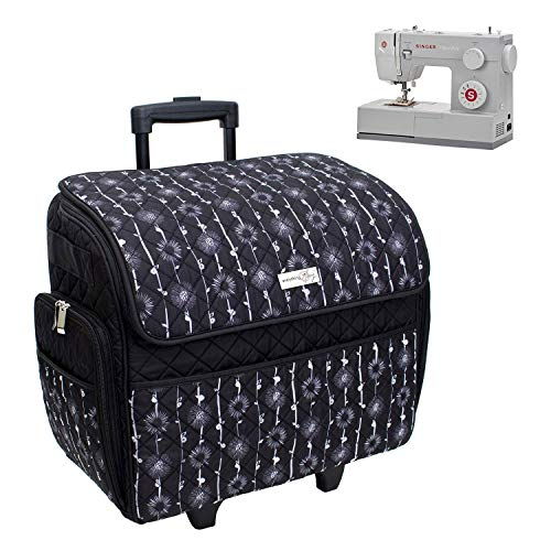 Everything Mary Deluxe Quilted Black & Floral Rolling Sewing Machine Tote - Sewing Machine Case Fits Most Brother & Singer Sewing Machines, Sewing Bag with Wheels & Handle - Portable Sewing Case
