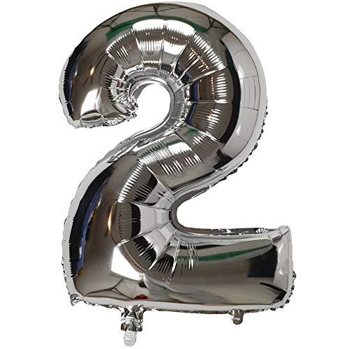 DIWULI, XXL-nummerballonnen, nummer 2, zilveren ballonnen, zilveren nummerballonnen, folieballonnen aantal jaren, folieballonnen 2e verjaardag, bruiloft, feest, decoratie, geschenkdecoratie