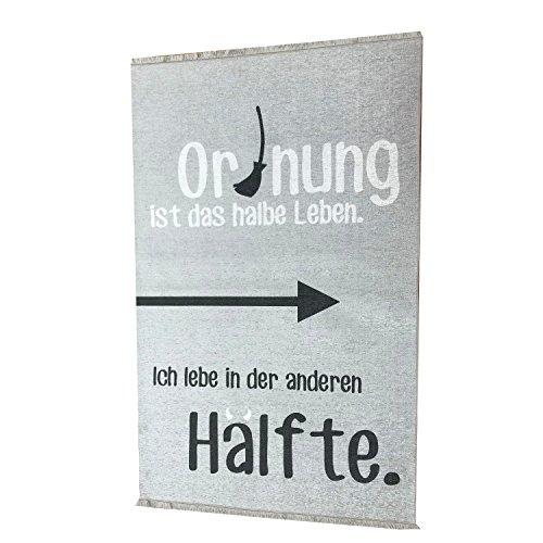 your castle Teppich Jugendzimmer Kinderzimmer grau/weiß witziger Spruch 160 x 100 cm öko Zertifiziert