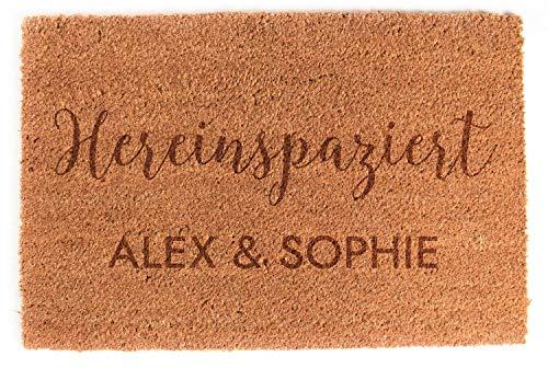 LAUBLUST Fußmatte Personalisiert - Mr. & Mrs. - ca. 60x40cm, Kokos | Geschenk zur Hochzeit | Umzugs- & Einzugsgeschenk