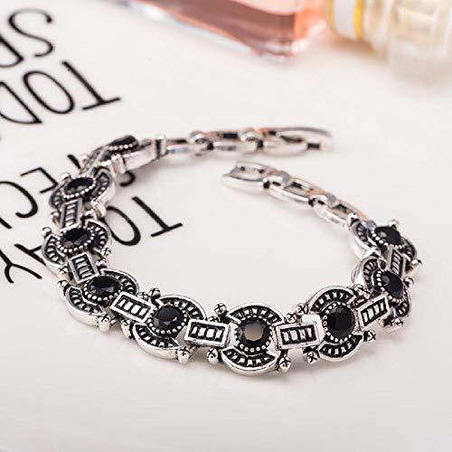 Zuiaidess Armbänder Für Damen,Vintage Persönlichkeit Armband Black Diamond Versilbert Farbe Neuheit Form Armbänder Für Mädchen Frauen Alltag Schmuck 18 cm