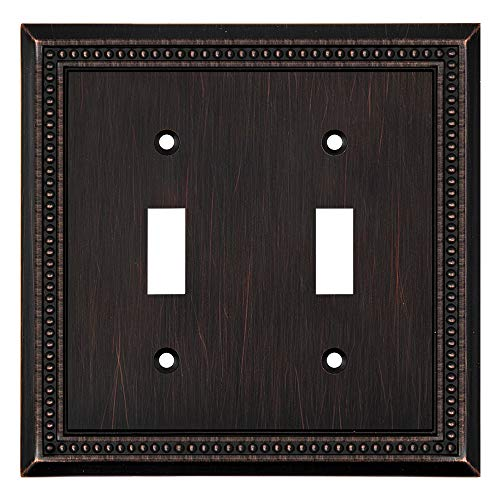 Sunken Pearls Decorative Wall Plate Switch Plate Outlet Cover (Double Toggle, Aged Bronze)