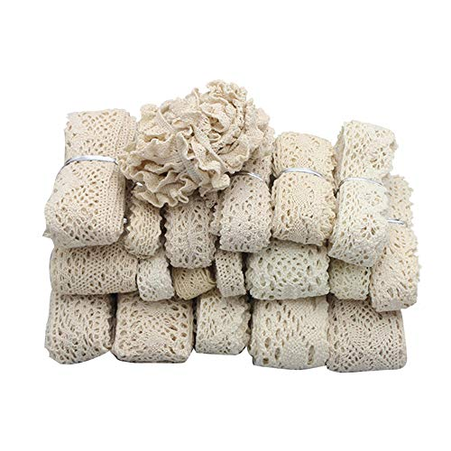 6yards/lot Cotton Lace Trim Ribbons Fabric DIY Sewing Handmade Patchwork Accessories (Ivory 6y)