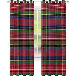 Printed Blackout Curtains, Caledonia Scottish Traditional Pattern Tartan Motif Abstract Squares Ornate Quilt, Blackout Drape for Dining Room, Multicolor
