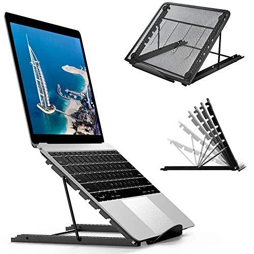 Laptop Tablet Stand, Foldable Portable Ventilated Desktop Laptop Holder, Universal Lightweight Adjustable Ergonomic Tray Cooling Black