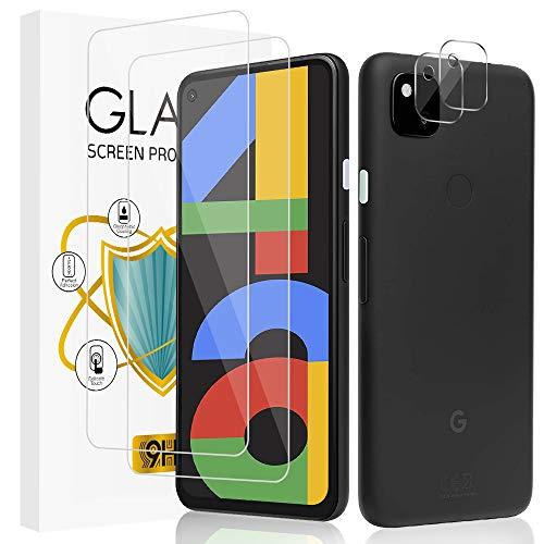 wsky Panzerglas Schutzfolie kompatibel mit Google Pixel 4A [2Stück] + Google Pixel 4A Kamera Panzerglas [2Stück], 9H-Härte, Ultra-Klarheit, Anti-Kratzen, Anti-Fingerabdruck Displayschutzfolie