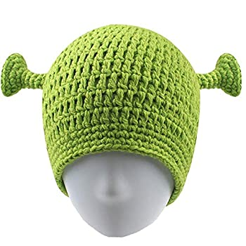 Union Power Shrek Hats with Ears Adult Cosplay Prop Halloween Cosplay Green Beanie Hat Gifts