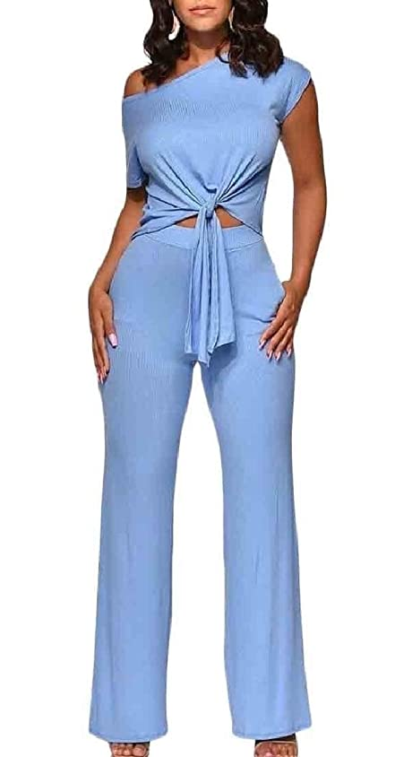 楽観お手入れ服を片付ける女性2ピース衣装ジャンプスーツショートスリーブ作物トップワイド脚パンツセット