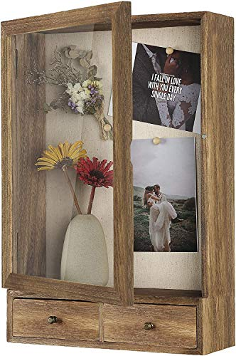 BONKON Shadow Box Frame 11x14 Shadow Box Display Case with Soft Linen Back 2 Drawers Ready to Hang...