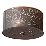 Irvin's Tinware Round Ceiling Light with Chisel in Country Tin