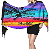 Palm Rainbow Coconut Tree Tropical Wrap Scarf Winter Warm Cashmere Shawl Scarf Lightweight Portable Headscarf Comfortable Women Neck Scarf Durable Luxurious Outdoor Scarf Neckerchief For Autumn