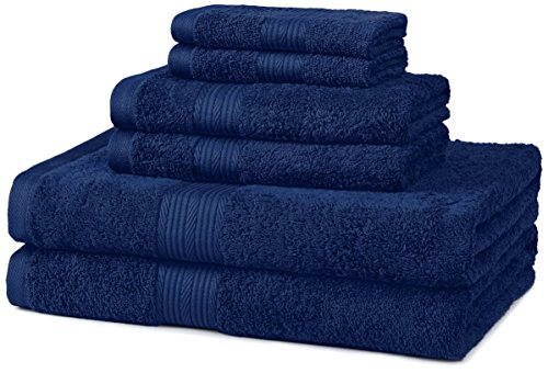 AmazonBasics 6-Piece Fade-Resistant Bath Towel Set - Navy Blue