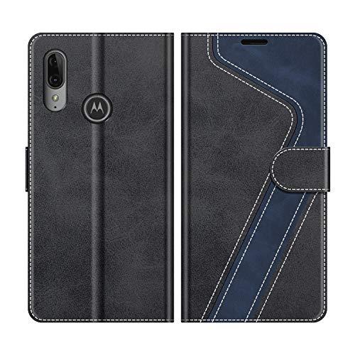 MOBESV Handyhülle für Motorola Moto E6 Plus Hülle Leder, Motorola Moto E6 Plus Klapphülle Handytasche Case für Motorola Moto E6 Plus Handy Hüllen, Modisch Schwarz