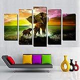 LWJPD Cuadro en Lienzo 5 Partes Animal Art Canvas Painting Poster Print Elefante E Hijo Sunset Waves En El Lienzo Hacer Una Decoración De Pared para Niños Sin Marco 60 Inch