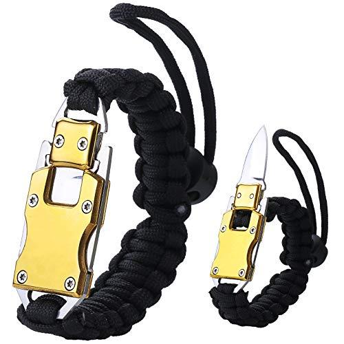 WEREWOLVES Adjustable Paracord Knife Bracelet, Survival Cord Bracelet with Knife, Tactical EDC Paracord Bracelet for Outdoor Hiking Traveling Camping, Paracord Bracelet for Men & Women (Full Black)
