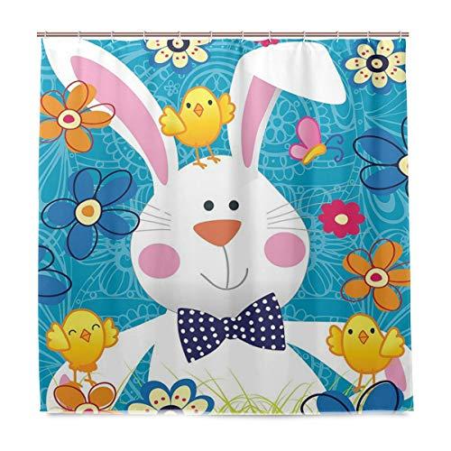 Wamika Frühling Happy Ostern Urlaub Badezimmer Duschvorhang Liner Home Decor gelb blau Floral Küken Stoff schimmelresistent Wasserdicht Badewanne Vorhang Tuch mit 12 Haken 183,0 cm x 183,0 cm
