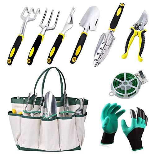 Keda Set, 9 PCS Set for Digging Planting with Storage Organizer Tote, Garden Gloves Shove, Plant Tie, Ergonomic Gifts Set for Women Men Adults