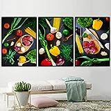 Cocina temática Arte de la pared Decoración Verduras Chile Ajo Carne de res en la mesa Pinturas en l...