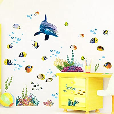 Witkey 3D Under the Sea World Underwater World Ocean Animals Fishes Sharks Dolphins CoralWall Stickers Bathroom Ocean Waves Baseboard Stripe Border Home Decals Bathrooms Kitchen Kids Rooms Decals