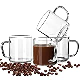 MULTIFUNCTIONAL GLASS:Modern coffee mug gifts set,these mugs are crystal clear,light weight and the perfect size.Can be used for Capucinno cups,Lungo cups,Macchiato,Latte,Espresso cups,Demitasse cups,Tea,Smoothie,Drinking Glasses,Beers,Hot Chocolate,...