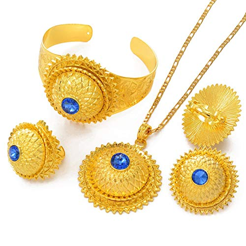 Conjunto De Accesorios Etíopes, Collar / Aretes / Anillos / Pulseras De Oro De Arabia, África, Fiesta De Bodas Habesha # 001617