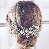 Peineta de boda Handcess, para lateral de cabello, adorno de pelo para novia, con brillantes piedras de imitación, tocado para novia y dama de honor (plata)