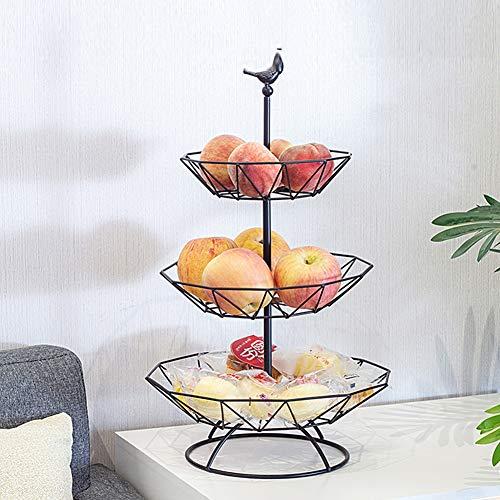 GWXLD Frutero 3 Pisos, Cesta De Frutas Vertical Metal Cesta Verdulero, para Organizador De Encimeras Decorativo Frutero Estanteria Black