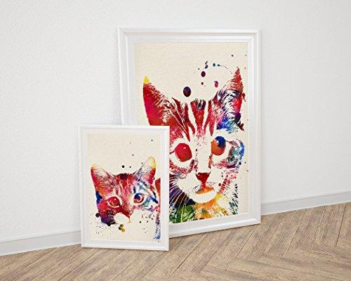 Nacnic Pack de láminas para enmarcar Gatos. Posters Estilo Acuarela con imágenes de Gatos. Decoración de hogar. Láminas para enmarcar. Papel 250 Gramos