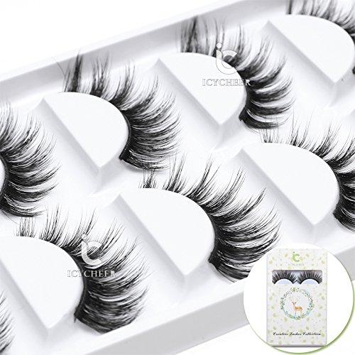 ICYCHEER Falsche Wimpern, 5 Paare Wimpern 3D Falsche Wimpern Natürliche Pure Handgemacht Wiederverwendbar