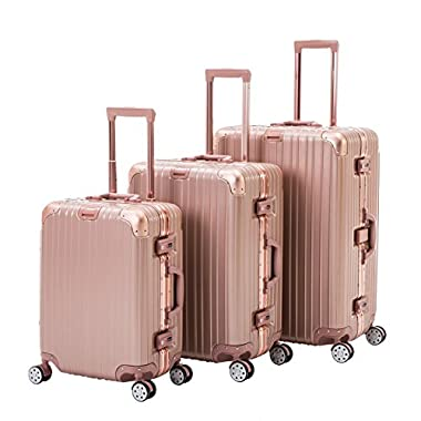 ORKAN Luggage Sets 3 Pieces Set AL Frame Design Hard Shell Luggage Carry ON Suitcase 20 24 28 inch