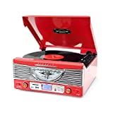 Pyle Home PTR8UR Retro Turntable with Radio/USB/SD/MP3 and Vinyl-to-MP3 Encoding (Red)