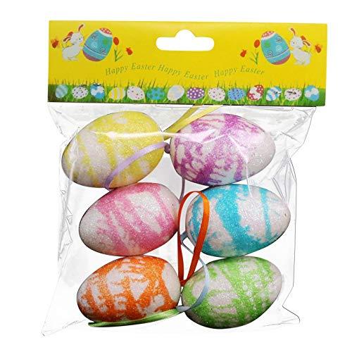 Ostern Deko Eier, Ostereier Kunststoff,Osterbasteln Für Kinder,Kunststoffeier,Bunte Ostereier,Osterdeko Zum Aufhängen,Aufhängen Kunststoffeier