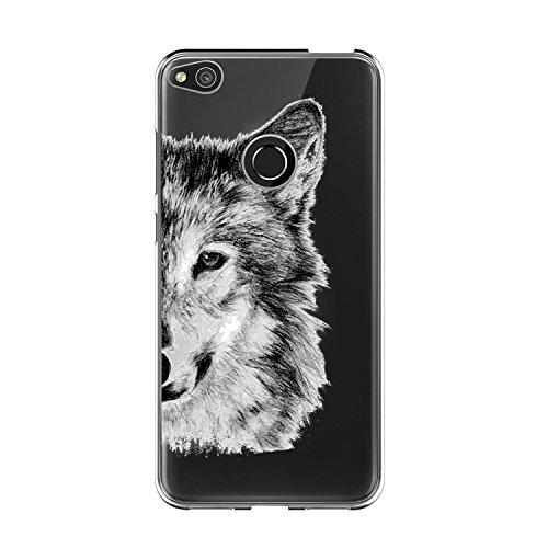 Caler Funda Compatible para Huawei P8 Lite 2017 Case,Suave TPU Gel Silicona Ultra-Delgado Ligera Anti-rasguños Protección Patrón Animal Carcasa para P8 Lite 2017 (Lobo Gris)