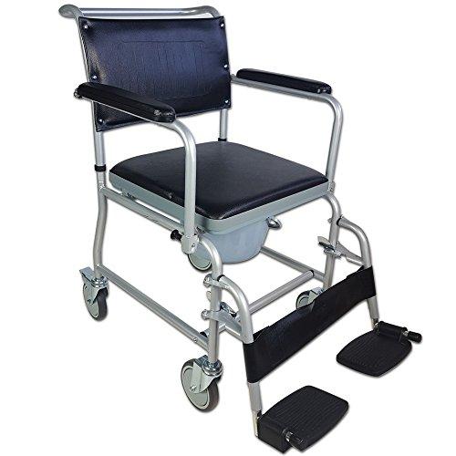 Mobiclinic, Modell Ancla, Toilettenstuhl mit Rollen, Toilettensitz für Ältere und Behinderte, WC Sitz, Klappbare Armlehnen, Abnehmbare Fußstützen, Mit Deckel, Grau