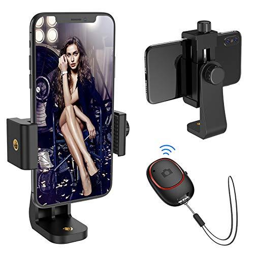 Mpow Handyhalter Stativ mit Bluetooth 5.0-Fernauslöser, Stativ Adapter mit 360 ° Verstellbarer Klemme, Stativ Handyhalterung für iPhone 11 Pro, iPhone SE, 11, X; Galaxy S20, S20+, S10, usw.