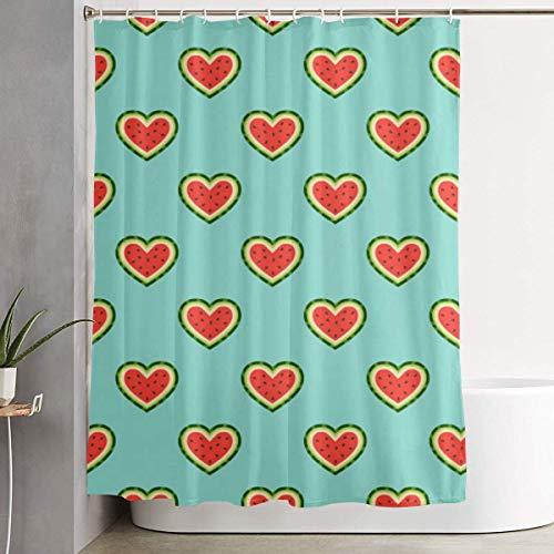 ChenZhuang Duschvorhang Wassermelone Herz Kunstdruck, Polyester Stoff Badezimmer Dekorationen Sammlung mit Haken - 60 x 72 Zoll