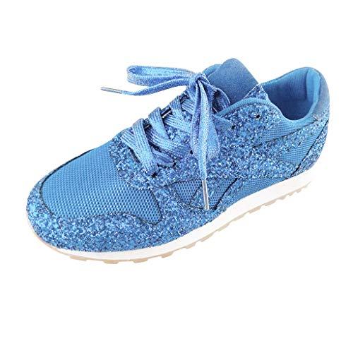 Routefuture Chaussures de Course Brillant légères pour Femmes Chaussures de Tennis Sportives Respirantes Baskets Mode Confortable Sneakers Outdoor Casual Fonctionnement (Bleu Ciel,36)