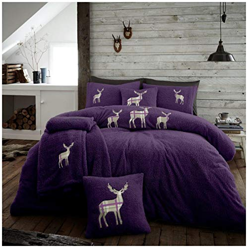 Easy Care Teddy Fleece Embroidered Stag Duvet Cover Set with Pillowcases, Soft & Cosy Quilt Set, Double Size Bedding, Purple