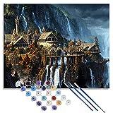YITUOMO Bricolage Peinture à l'huile par numéro Kit, Peinture peintures Seigneur des Anneaux château de la vallée imprimé Toile Art décoration de la Maison 50x40 cm sans Cadre