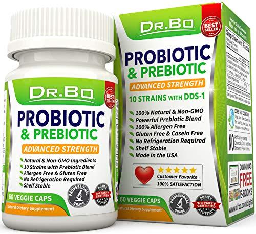 Vegan Probiotics for Women Men - Lactobacillus Acidophilus and Rhamnosus Probiotic Capsules with Prebiotics and Bifidobacterium Longum - Non Refrigerated Daily Digestive Gut Health Supplement