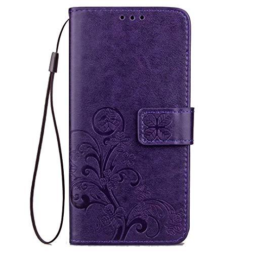 Larook Funda para iPhone 11, diseño de mariposas, estilo cartera con función atril y carcasa magnética de poliuretano para iPhone 11, morado