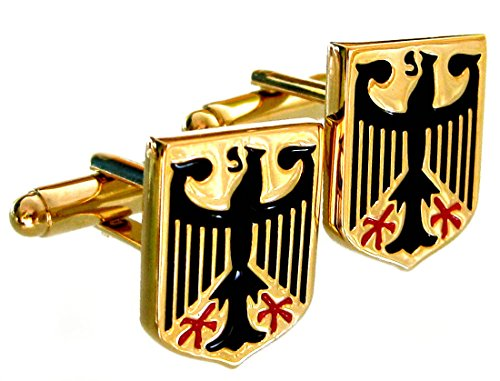 Unbekannt Wappen Manschettenknöpfe Adler vergoldet glänzend + Schwarze + rote Lackeinlage Plus Geschenkbox