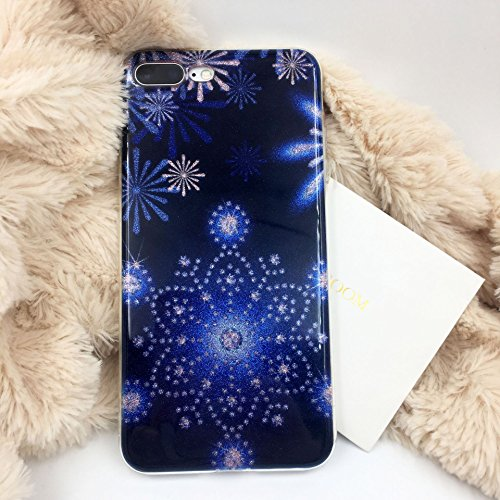 Coque iphone X, Herbests iphone 10 Coque Transparente Silicone Gel TPU Souple avec Cute Motif Dessin Mignon Imprimé, Housse Etui de Protection Bumper Case Cover Premium [Anti Choc] [Ultra Fine] [Ultra Mince] [Liquid Crystal] [Exact Fit] pour iphone X iphone 10-Flocon de neige bleu