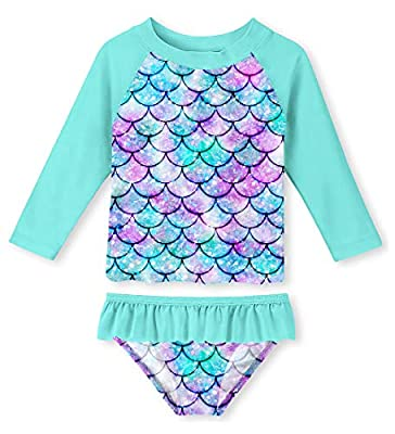 uideazone Mermaid Scale Swimsuit for Toddler Girls Summer Bathing Suit Rashguard Set 2 Piece Swimsuit for Swimming,5-6Years