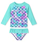 uideazone Little Girls Fish Scale Bathing Suit 2 Piece Swimsuit Rashguard Set Green Swim Suit for Beach Pool Swimming Lesson,2 Years