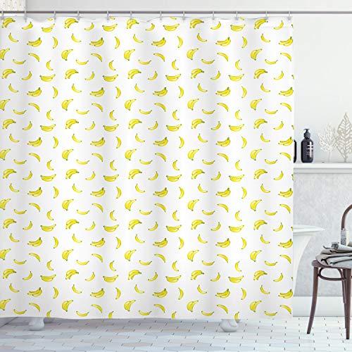 ABAKUHAUS Banane Duschvorhang, Exotisches Lebensmittel der tropischen Frucht, mit 12 Ringe Set Wasserdicht Stielvoll Modern Farbfest & Schimmel Resistent, 175x200 cm, Hellgrün Gelb & Weiß