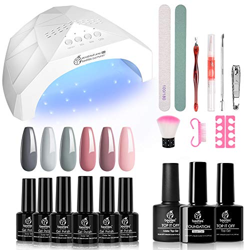 Beetles Nude Grays Gel Nail Polish Kit with U V Light 48W LED Nail Lamp Pink Gel Nail Polish Starter Kit Manicure with U V Light, Soak off U V Gel Nail Polish Set Nude DIY Home Gel Nail Kit Designs