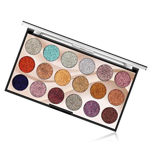 Eyeshadow Palette Palette di ombretti glitter 18 colori Glitter multi riflessi Trucco Pallet cosmetico Lunga durata Impermeabile per occhi Sopracciglia e smalto (02)