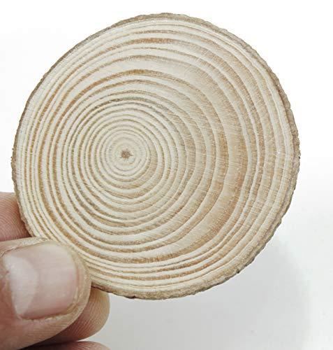 """ALL in ONE Wood Slices Unfinished Predrilled Wooden Circles for DIY Craft Ornaments NO Hole (2""""-2.36""""-50pcs)"""